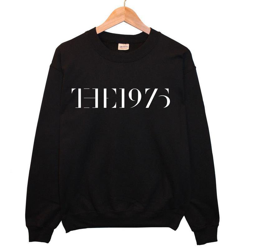 2015 NEW The 1975 Tour Logo Letters Print Women Sweatshirt Cotton Casual Hoody Black Hipster Plus Size Street Jumper Swag TZ205-(China (Mainland))