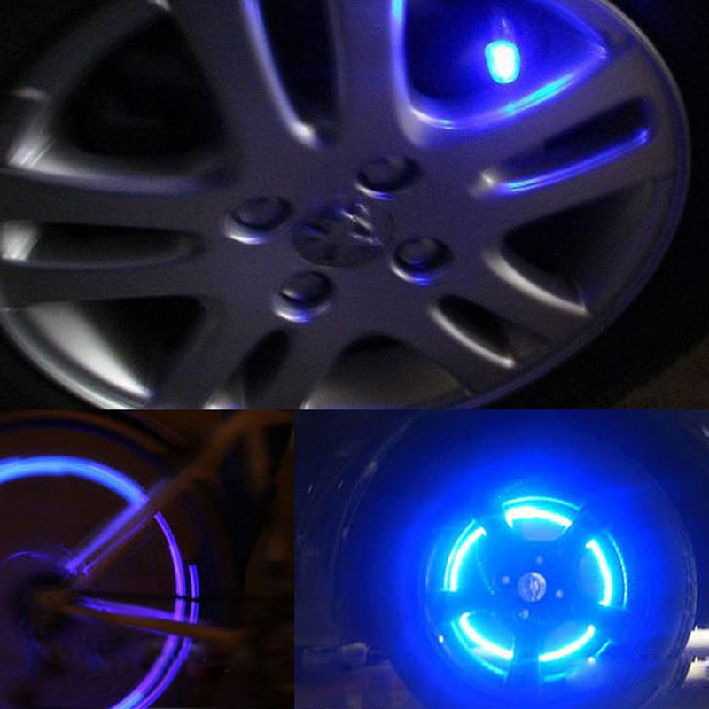 ON 1 Pair Cycling Bike Bicycle Neon LED Wheel Spoke Valve Cap Alarm Wheel Lights