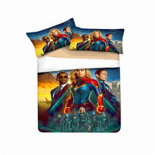 MUSOLEI 3D Bedding Set Captain Marvel Soft Bed Duvet Cover Set Twin Queen King Size(China)