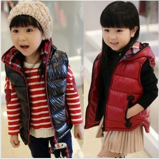 2015 new style Spring autumn winter warm thick children boys girls cotton vest coat black wine red - down Factory direct store