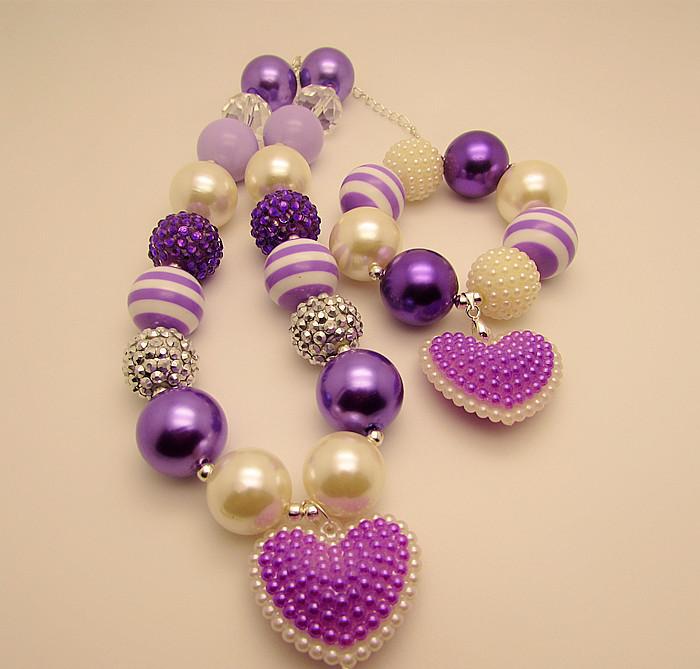 2015 New cute girls purple heart necklaces bracelets jewelry set chunky bubblegum beaded necklace pendants for children kids(China (Mainland))