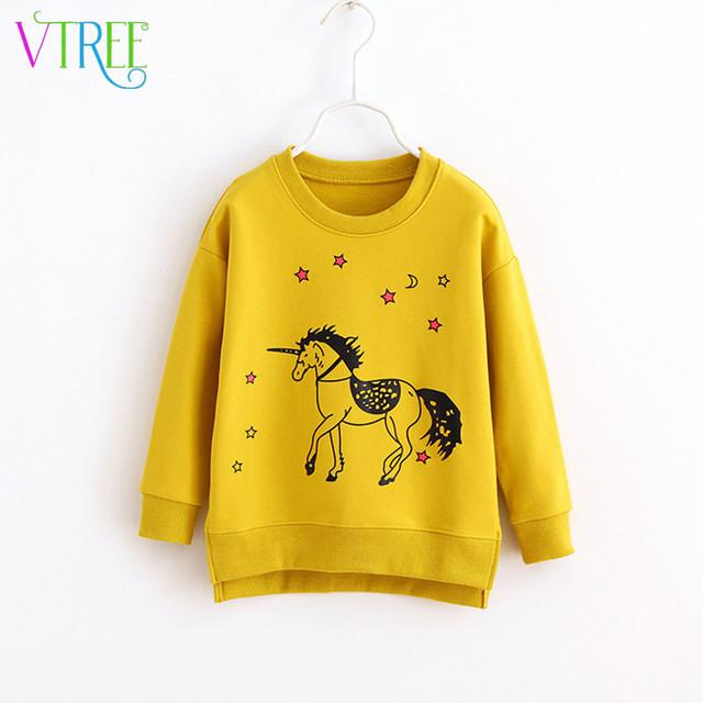 V-TREE Весна осень 2016 девушки футболка мило лошадь мальчиков кофты нерегулярные хем дети майка дети перемычки детская одежда