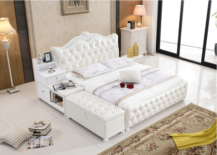 storage ottoman diamond tufted contemporary genuine leather bed modern bedroom furniture made in China(China (Mainland))