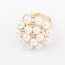 Min.order is $10 (mix order) R124 Korer fashion Artificial pearls Bead flower ring wholesale free shipping