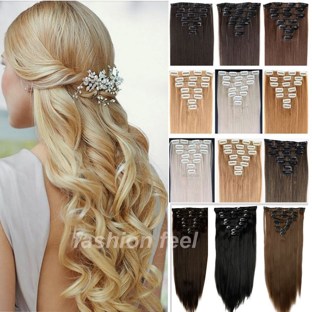 Local Warehouse Long Clip in Hair Extensions Half Full Head Synthetic Hairpiece Straight real thick hair extentions NEW SALE(China (Mainland))