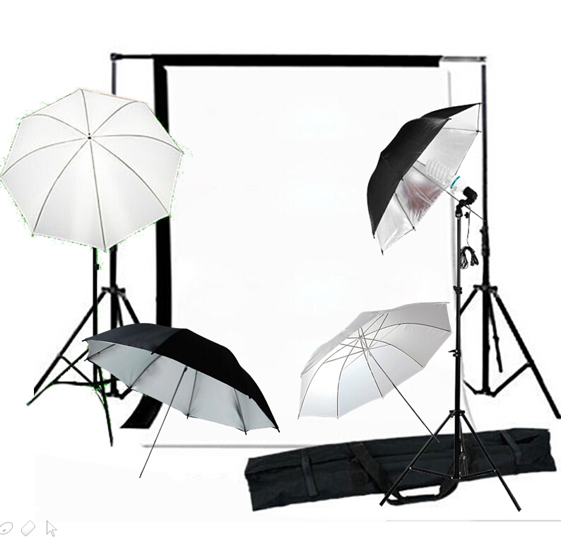 P S2-04 10 X 20 FT Studio umbrella Flash Lighting Kit with Black Muslin Backdrop and Background Support<br><br>Aliexpress