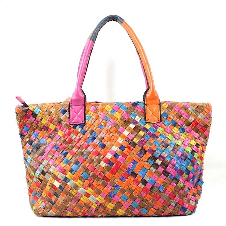 Women Handbag Genuine Leather Bag Woven Bag L90311 Free Shipping(China (Mainland))