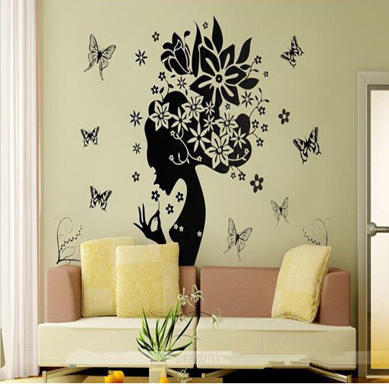 Fower fairy mirror wall stickers decorative vinyl home for Stickers muraux