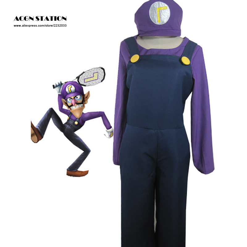 2016 Hot Sale Free Shipping Top-grade Super Mario Bros Waluigi Adult Kid Cosplay Costume Unisex Clothing For Halloween Christmas(China (Mainland))