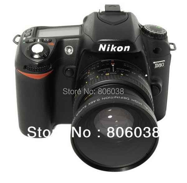 Brand New 52MM 0.45x Wide Angle Lens + Macro Lens for Cannon D5000 D5100 D3100 D7000 D3200 D80 D90 DSLR Camera Free Shipping(China (Mainland))