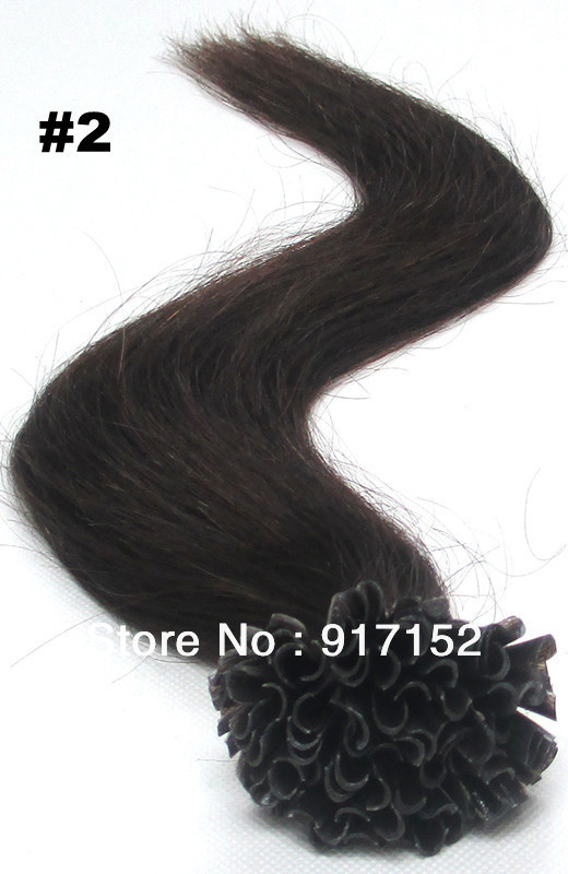Nail Tip 100'S/BAG/LOT 50Gram Black color 2# 18 inch20 inch22' Good REMY human hair Pre-bonded extension - Cathy's beauty store