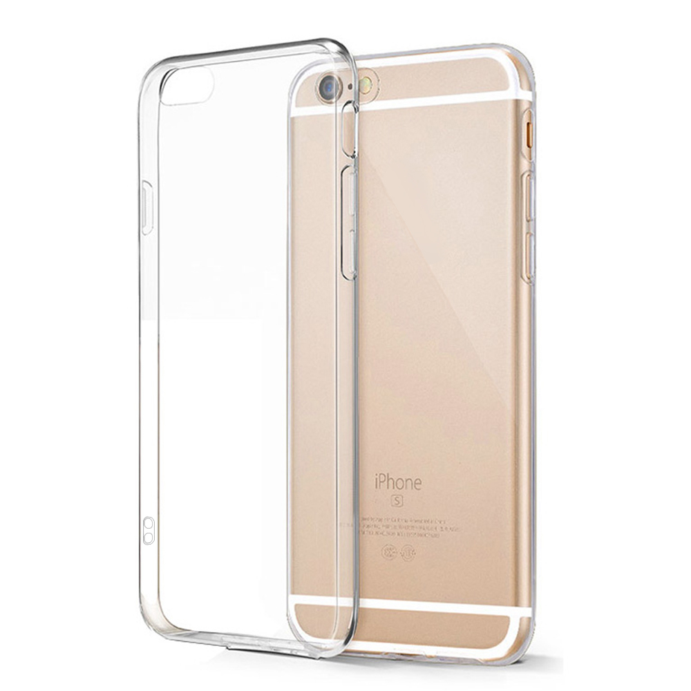 I6S Transparent Crystal Hard TPU Full Clear Acrylic Case Cover Skin for iPhone 5S SE 6 6S Plus With Dust Plug(China (Mainland))