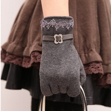 5 Colors New Women Ladies Winter Warm Vintage Lace Touch Screen Gloves Free Shipping