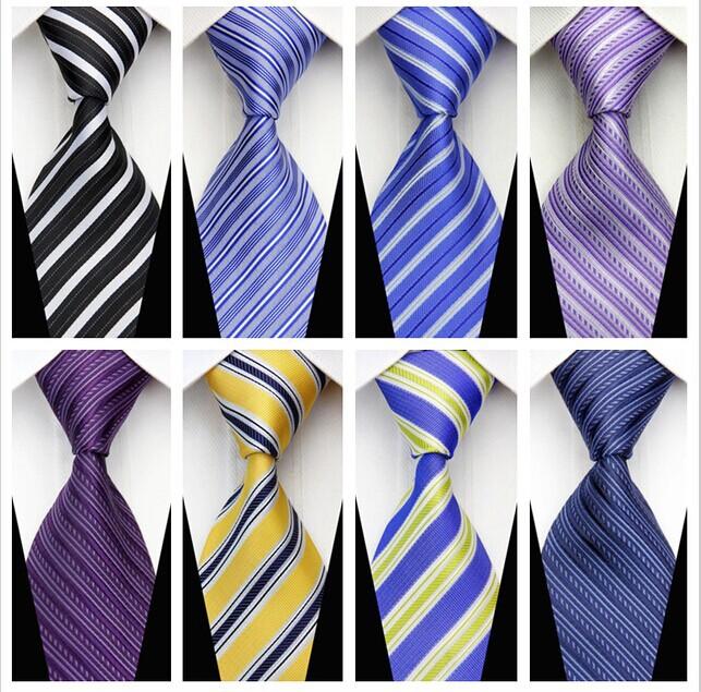 NT0070 New arrived Stripe Smooth Multicolor Jacquard Woven Classic Silk Polyester Man s Business Wedding Tie