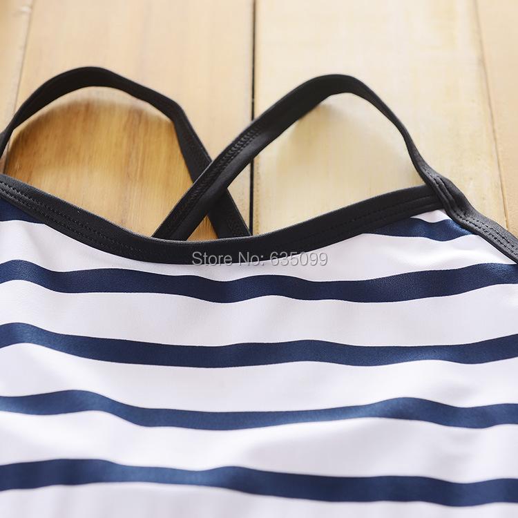 7 - 14 т большие девочки полосатый детей один-частей купальник детей белый синий одежда для пляжа девушка купальный костюм