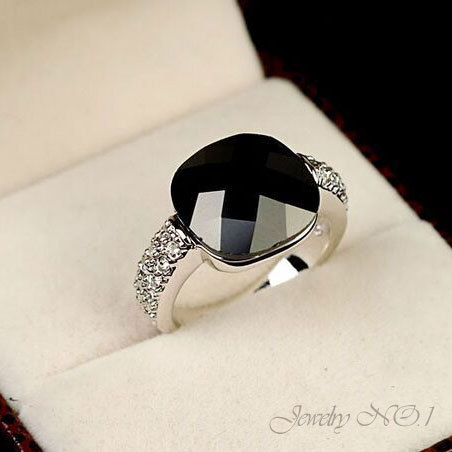 Rings Ring Personalized Vintage Jewelry Rings For Women Anelb Peppers In Square Black Onyx Crystal 925 Sterling Silver Ring(China (Mainland))