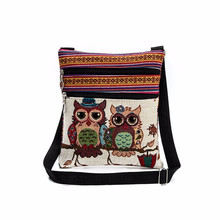 Buy 2017 New National Wind Double Zipper Female Mini Flap Shoulder Handbags Cartoon Owl Printed Bags Women Small Messenger Bags #751 for $2.41 in AliExpress store