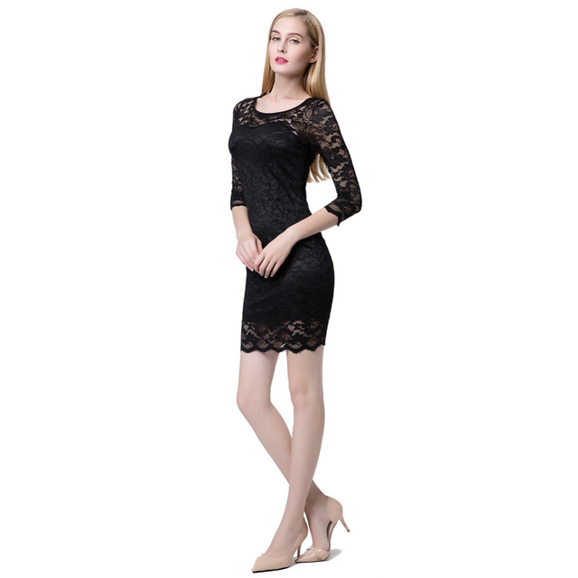 Women Sexy Lace Mini Dress Slash Neck O-Neck Pencil Fit Cocktail Party Dress 5 Colors