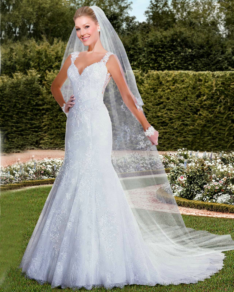 Lace Mermaid Wedding Dress Veil