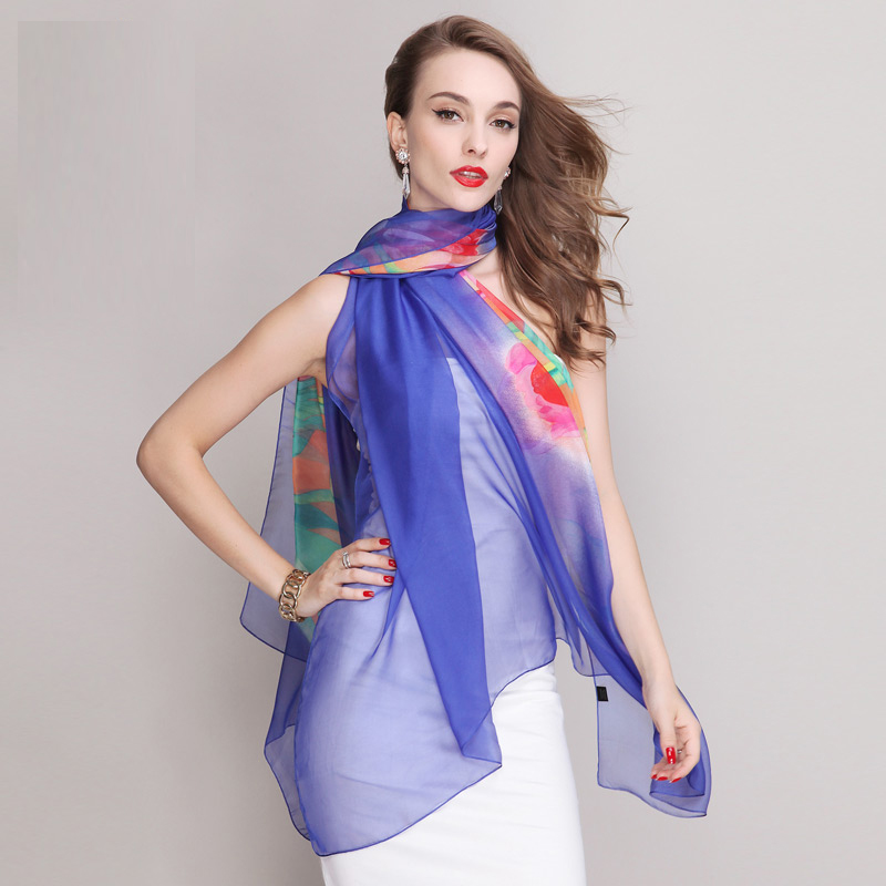 Large chiffon scarf silk feeling blue polyester islamic scarves women cheap beach shawls wholesale(China (Mainland))