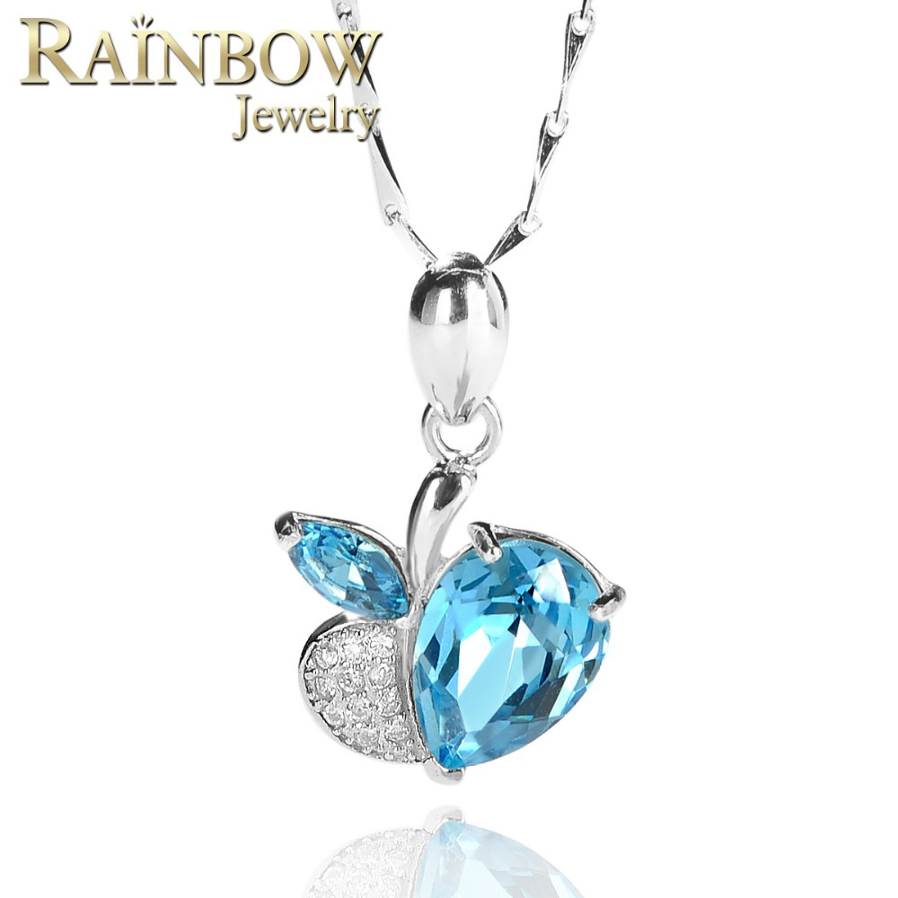 Wholesale Fine Jewelry Women Natural Lovely Swiss Blue Topaz Necklaces Pendants 925 Sterling Silver Free Shipping
