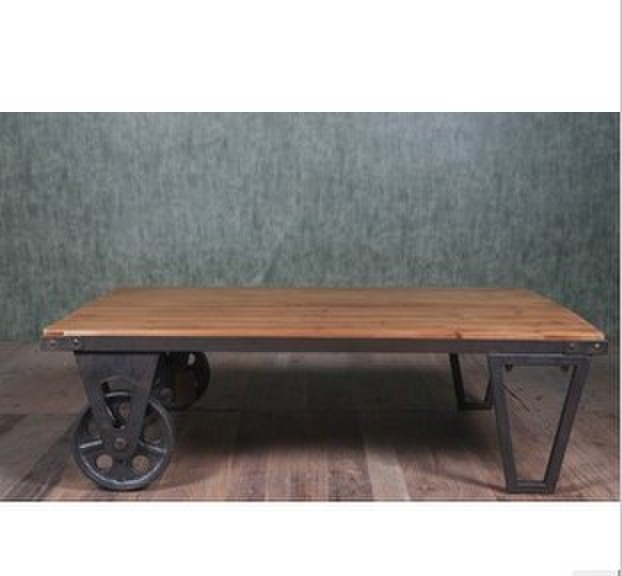 American Retro Style Personality Mining Iron Wood Combination Living Room Coffee Table Dining