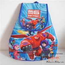 Children Cartoon School Bags Hello Kitty Big Hero 6 Minion Dora Sofia Non-woven Drawstring Bags Backpack Children's School bag(China (Mainland))