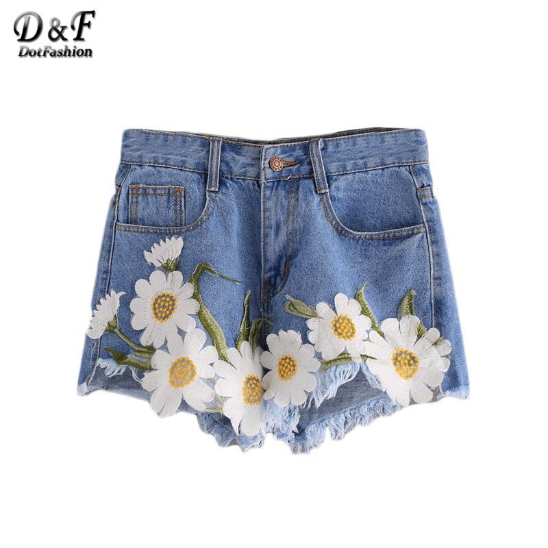 Dotfashion Female 2016 Summer Shorts Frayed Embroidered Flower Applique Blue Twin Pockets Mid Waist Denim Shorts(China (Mainland))