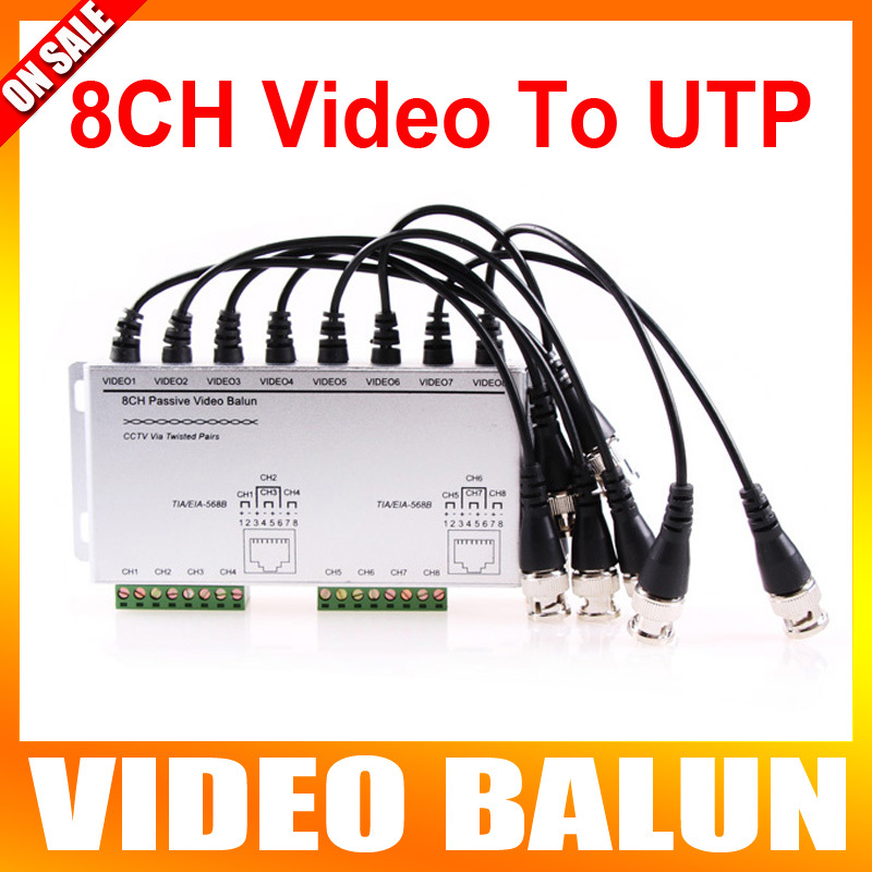 8CH Passive Video Balun The BNC Video to UTP RJ45 With Cables For CCTV Camera DVR System(China (Mainland))