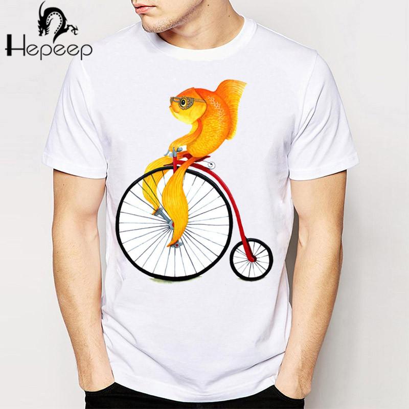 Penny Farthing Fish Infant T-shirt mens short sleeve funny Cartoon tee shirt novelty boy tops Cheap wholesale man t shirt(China (Mainland))