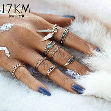 Buy 17KM New Retro Punk Leaf Ring Set Vintage Antique Gold Color Lucky Arrow midi Rings Women 8PCS/Set Blue Stone Jewelry for $1.99 in AliExpress store