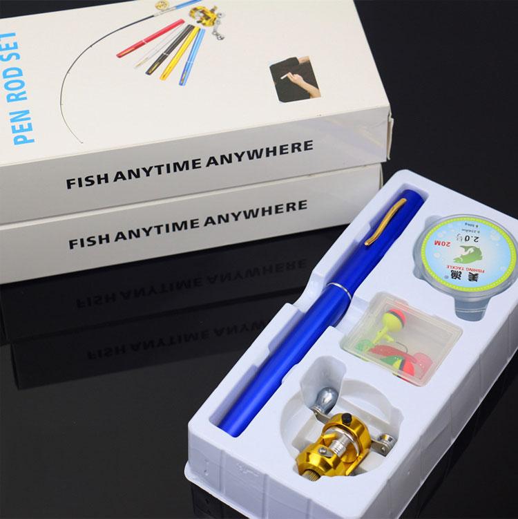 Mini fishing rod pen 1m fishing kit de pesca drum metal reel mini fishing pole set with accessories(China (Mainland))