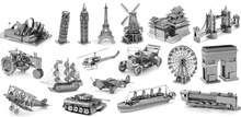 3D Metal Puzzles Earth Laser Cut Model Jigsaws DIY Gift Eiffel Tower Big Ben Helicopter F35 Fighter New Year Gift