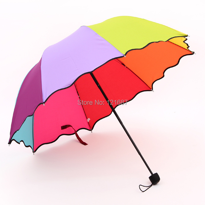 2015 new plain simple three folding umbrellas009 rainbow arched Apollo princess umbrella folding umbrella UV(China (Mainland))