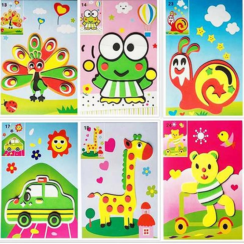 12pcs/set DIY 3D EVA Sticker Handmade Foam Puzzle Painting Scratch Paper Sticker Drawing Template Eva Crafts Toys For KIds(China (Mainland))