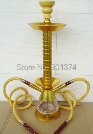large size hookah five color option aluminum with 2 hose and tray and poker -free shipping(China (Mainland))