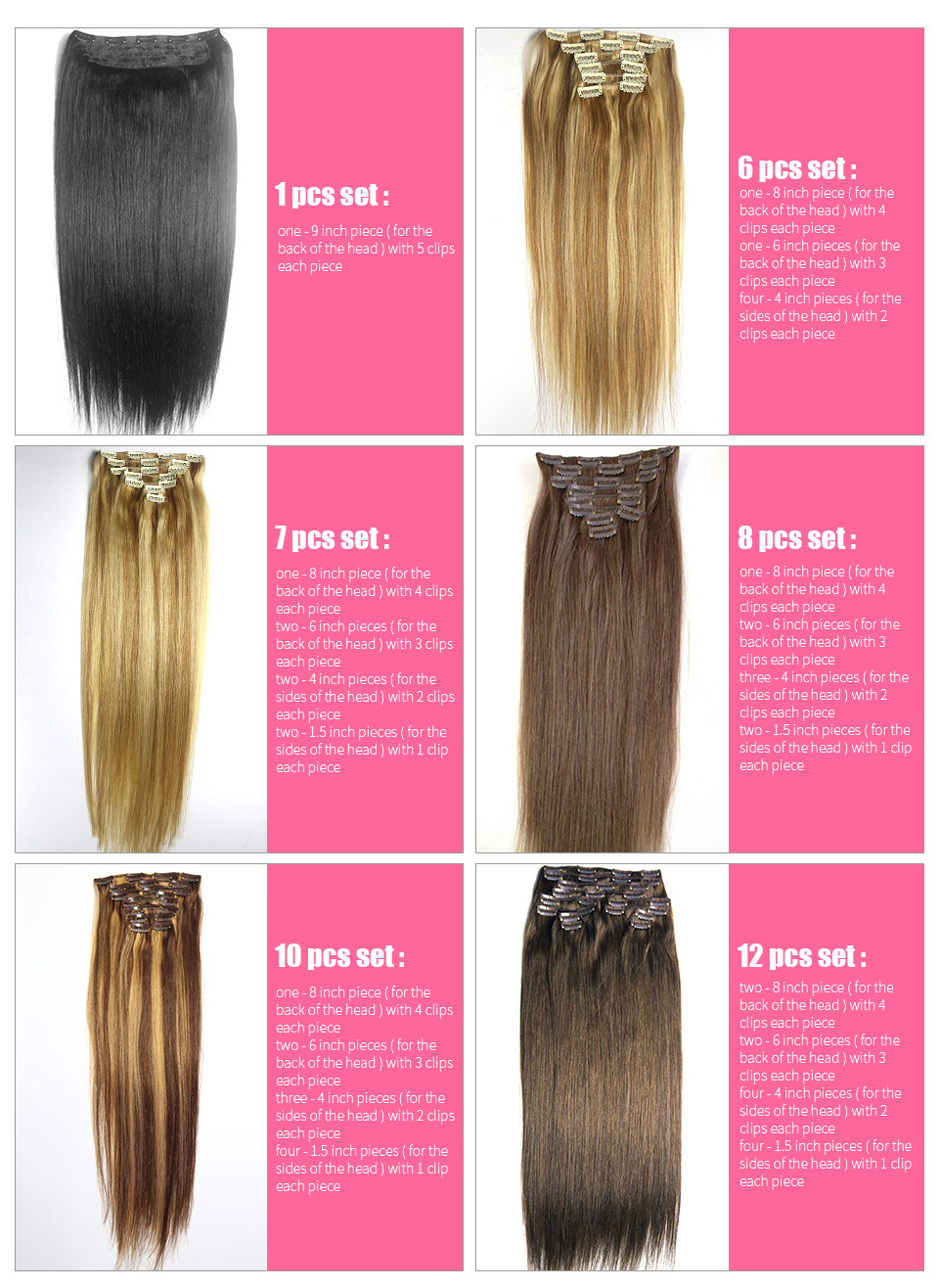 free shipping thickest 18″-28″ 12pcs set 100% clips in/on human remy hair extensions  #16 gold blonde 260g all colors in stock