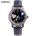 TIME100 12 Constellation Libra Women Automatic Self wind Mechanical Watches Gift Leather Strap Diamonds Ladies Dress