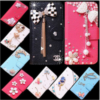 DIY Handmade PU Leather Wallet Cover For Nokia 6 Flip Case With Stand Bling Mobile Phone Bag Cases