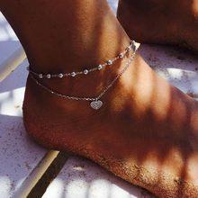 Gold Silver Color moda praia Anklet Bracelet on The Leg 2019 Fashion Summer Beach Foot Jewelry Tobilleras De Plata Para Mujer(China)