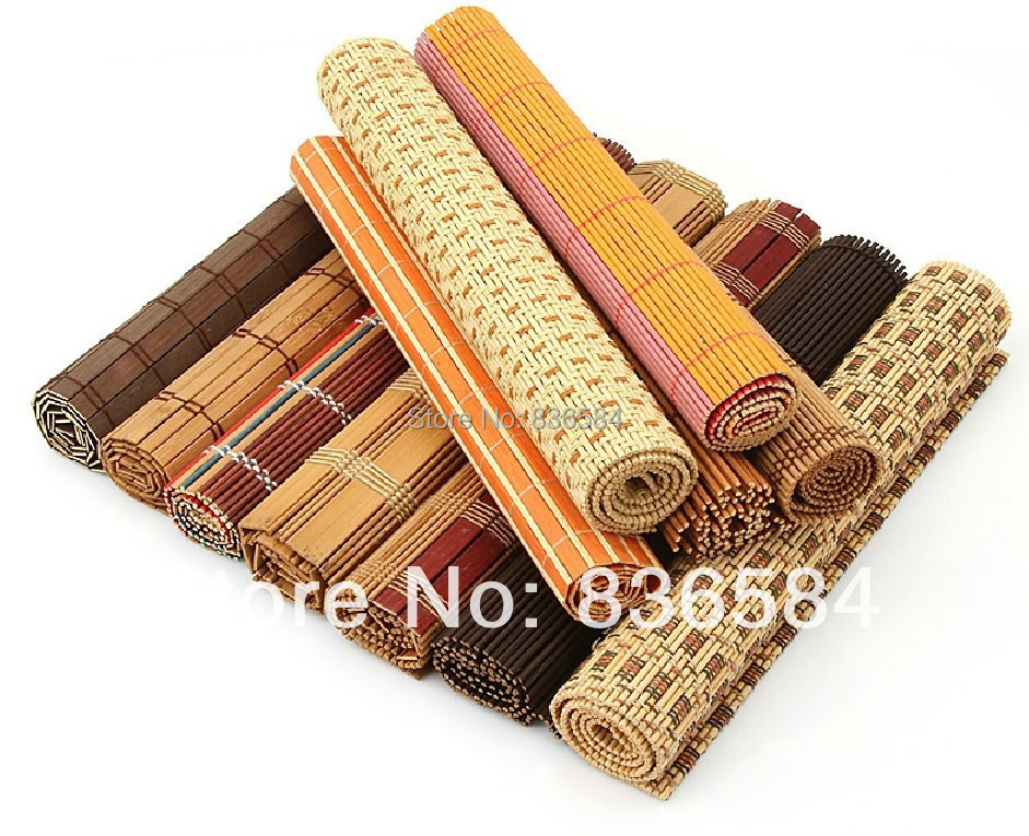 Wholesale and retail bamboo table mat weaved of bamboo 43*30cm free shipping(China (Mainland))