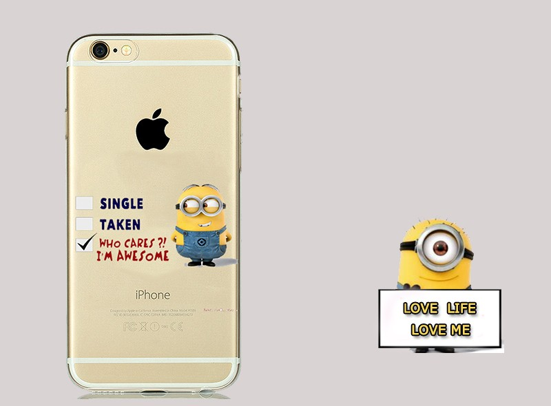 New 2016 Most Popular Despicable Me Transparent Soft Silicone TPU Cover for Minion iphone 6s 6 5s fundas Clear Cases 11 designs