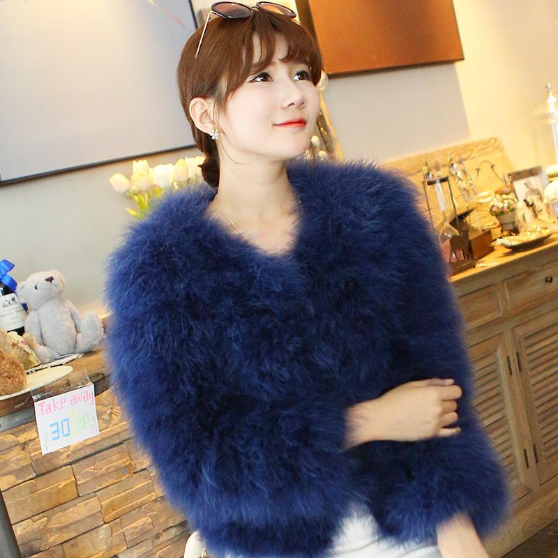 2015 Winter Super Warm Solid colour Ostrich Fur Long Sleeves Fur Coat Women's Short Design Outer Fur Cape Ladies Winter Coats(China (Mainland))