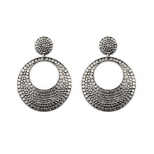 Free shipping  New Arrival Bohemia Tibetan jewelry Tibetan silver round retro vintage earrings alloy earrings 1pair Women(China (Mainland))