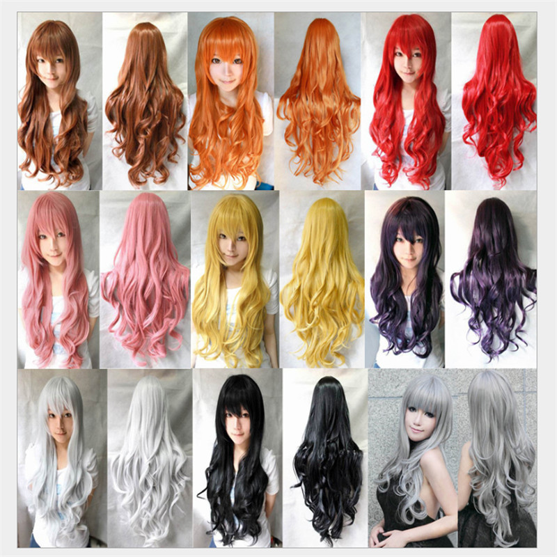 31.5 / 80cm harajuku wig 2015 synthetic ombre wigs Long curly Wigs with bangs peruca cosplay rosa cheap hair wigs,free shipping<br><br>Aliexpress