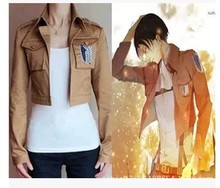 attack on titan jacket /coat cosplay jacket with a sign of The survey corps 100% cotton