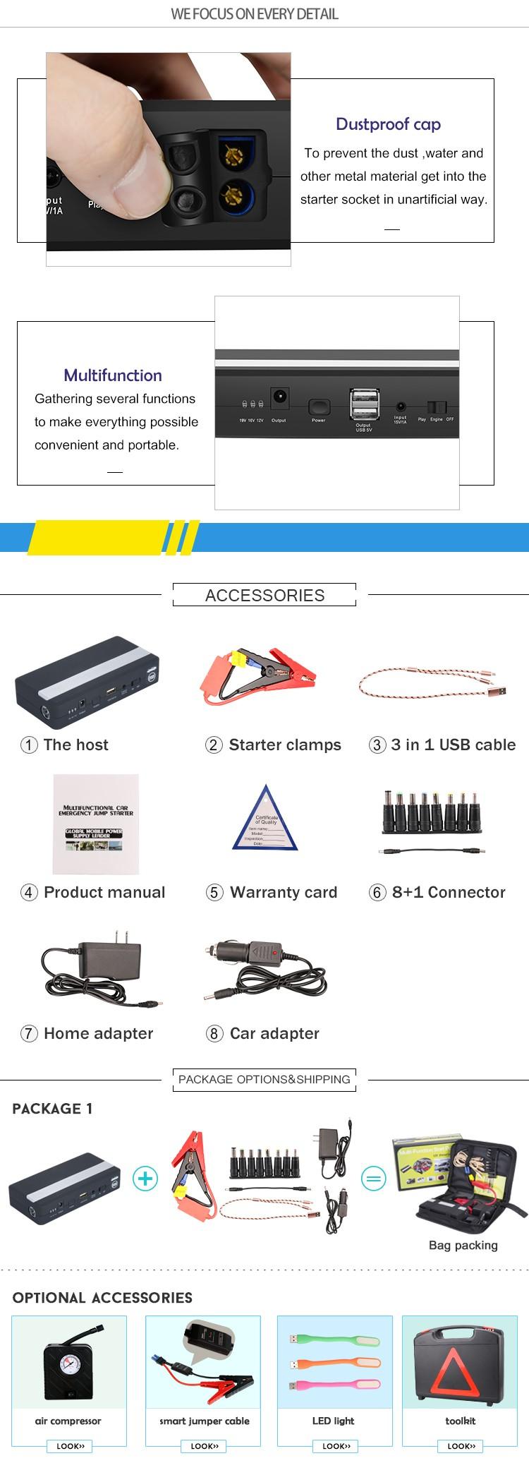 K05 minimax jumpstarter emergency power pack car booster lithium polymer battery charger for 12V gasoline&diesel&air compressor