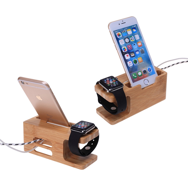 For Apple Watch 38&42mm/For Huawei Watches Wood Bamboo Station Charging Dock Cradle Stand Holder For iPhone 6S 7 PLUS/S5 Neo S7(China (Mainland))