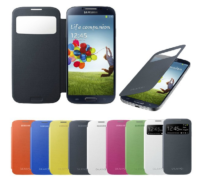 Flip Case for Samsung Galaxy S4 IV i9500 Original Dormancy sleep function cover flip battery case mobile phone bag freeshipping