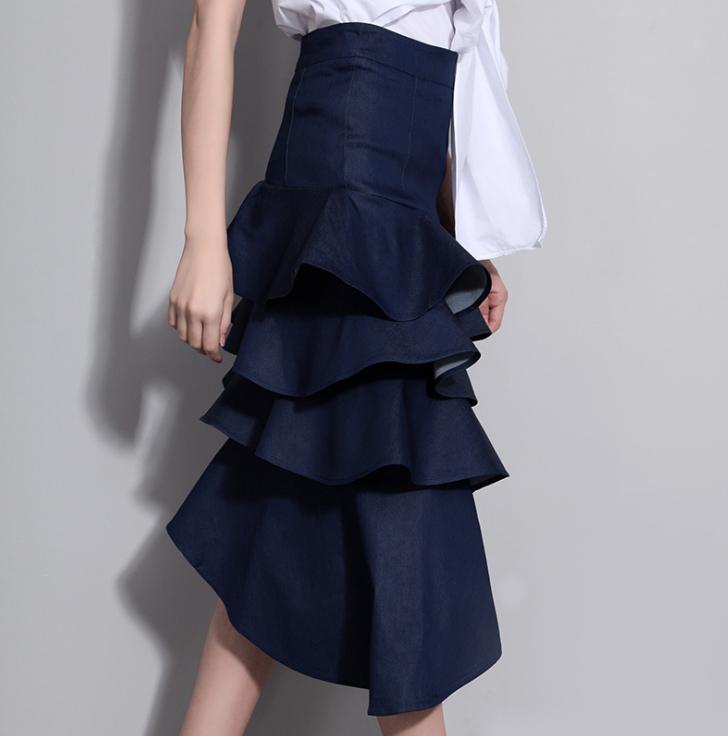 Almoda 2016 Summer Women Stylish Denim Skirts High Waist Multi-layers Ruffle Slim Skirt Ladies Graceful Mid-calf Skirts(China (Mainland))